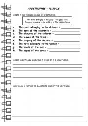 Apostrophes Worksheets