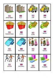 British American English Memory Game - ESL worksheet by biancadell