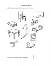 English worksheets: Classroom objects