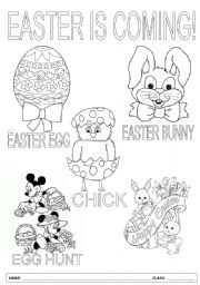 Easter pictionary worksheets