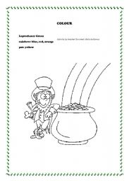 English worksheets: St Patrick´s colouring dictation