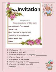 birthday invitation esl worksheet by