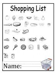 English worksheets: Shopping List