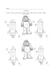 English worksheets: Space Math