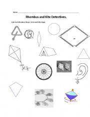 English worksheets: Rhombus and Kite Detective