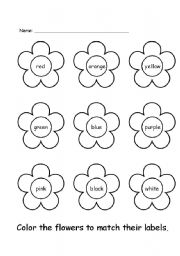 English worksheets: Colour the flowers