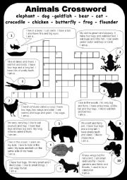 Animals crossword worksheets