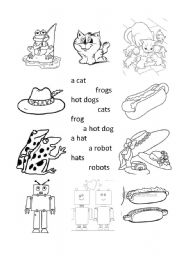 English worksheets: Match simple words, singular and plural