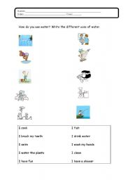 English worksheets: How do you use water
