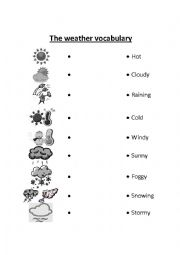 Weather vocabulary worksheets