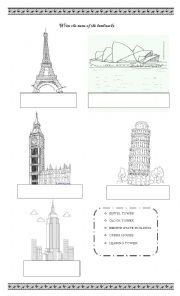 Landmarks worksheets