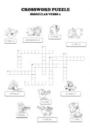 Irregular verbs crossword worksheets