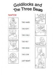 Goldilocks and the Three Bears worksheets