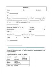Cover letter exercise  ESL worksheet by nurag