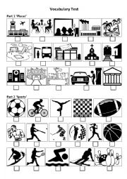 Sports test worksheets