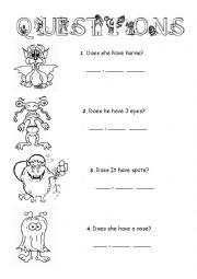 Monsters worksheets