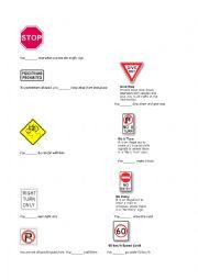 Road signs worksheets