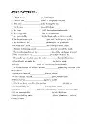Verb patterns worksheets