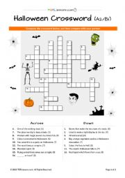 Halloween Crossword A2-B1 level (Fillable PDF version also