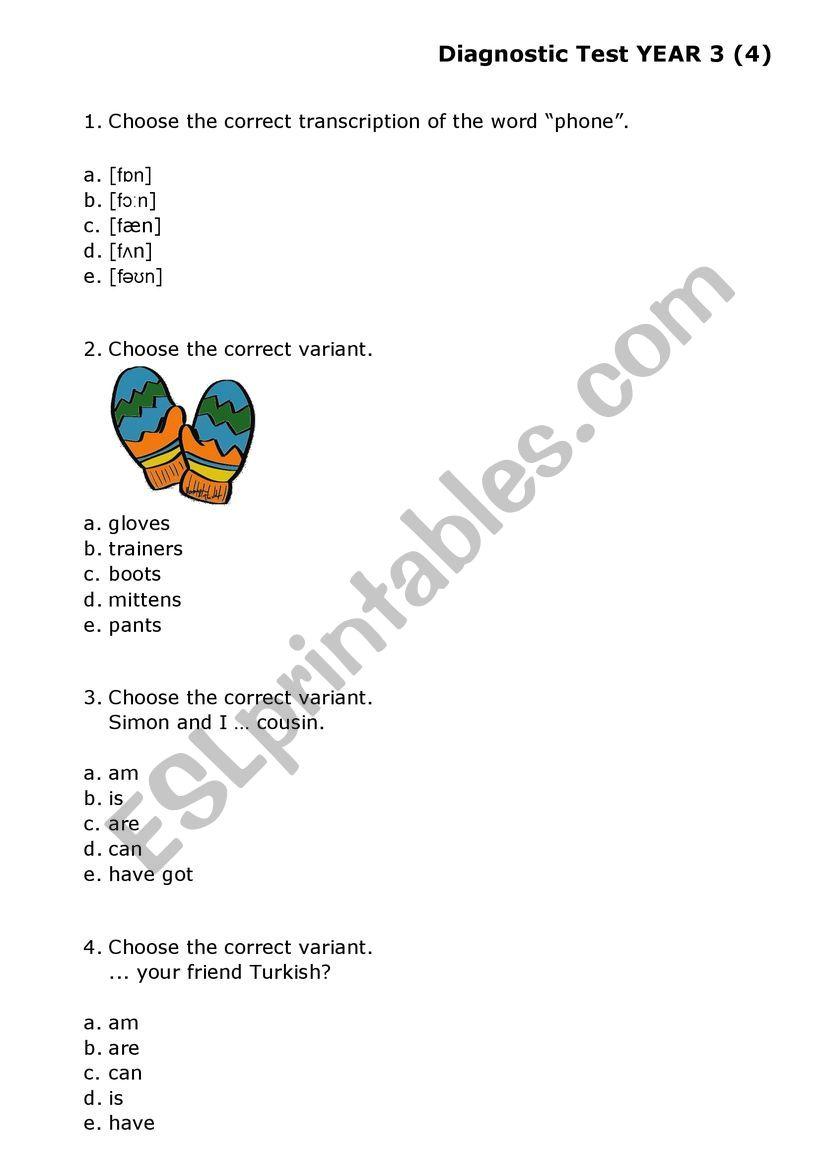 medium resolution of Multiple Choice Test Grade 3 - ESL worksheet by yolli123