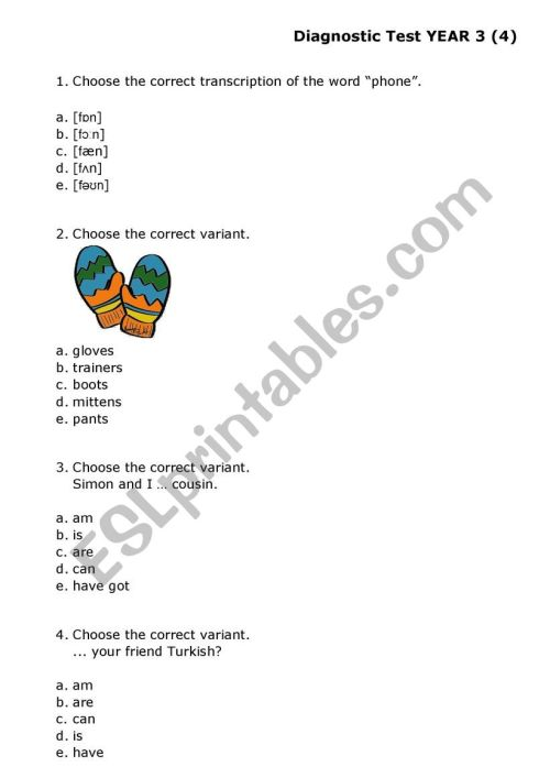 small resolution of Multiple Choice Test Grade 3 - ESL worksheet by yolli123