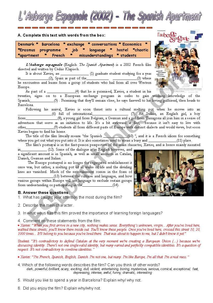 hight resolution of The Spanish Apartment - ESL worksheet by Ana B