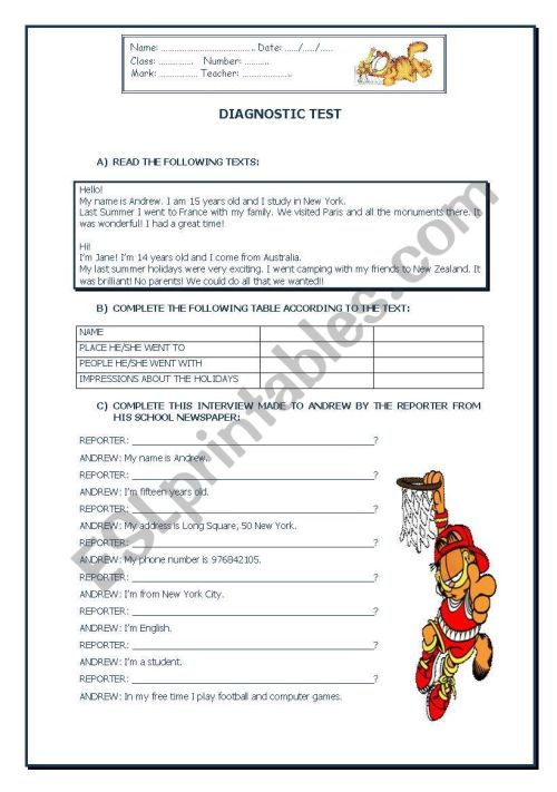 small resolution of Diagnostic test - ESL worksheet by vanda51