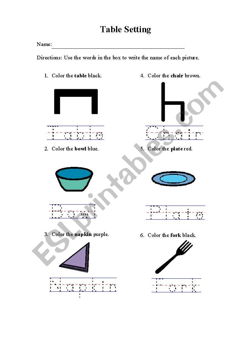 English worksheets: Table Setting 4