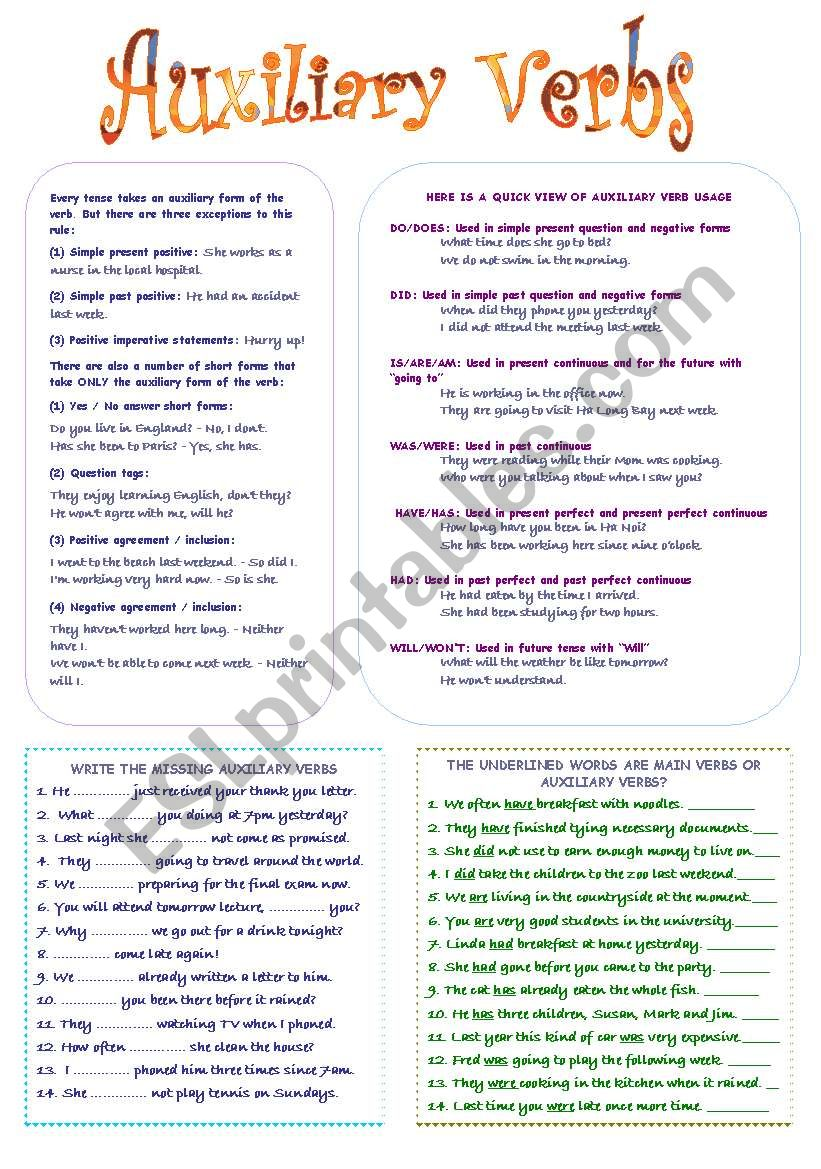 medium resolution of Auxiliary Verbs - ESL worksheet by mimika