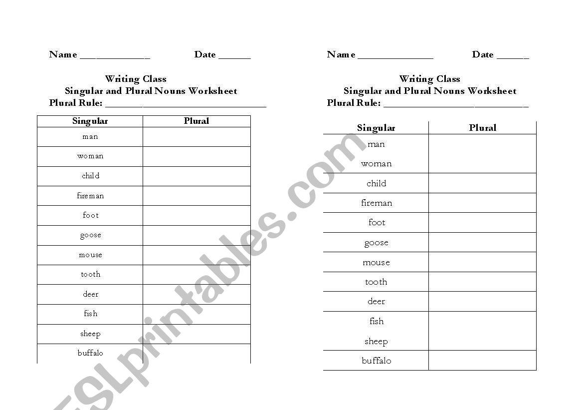 English Worksheets Irregular Plural Nouns Worksheet