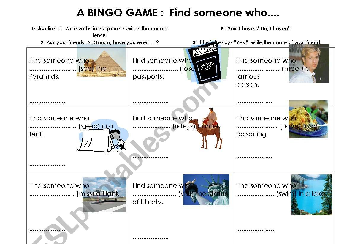 Present Perfect Bingo Game