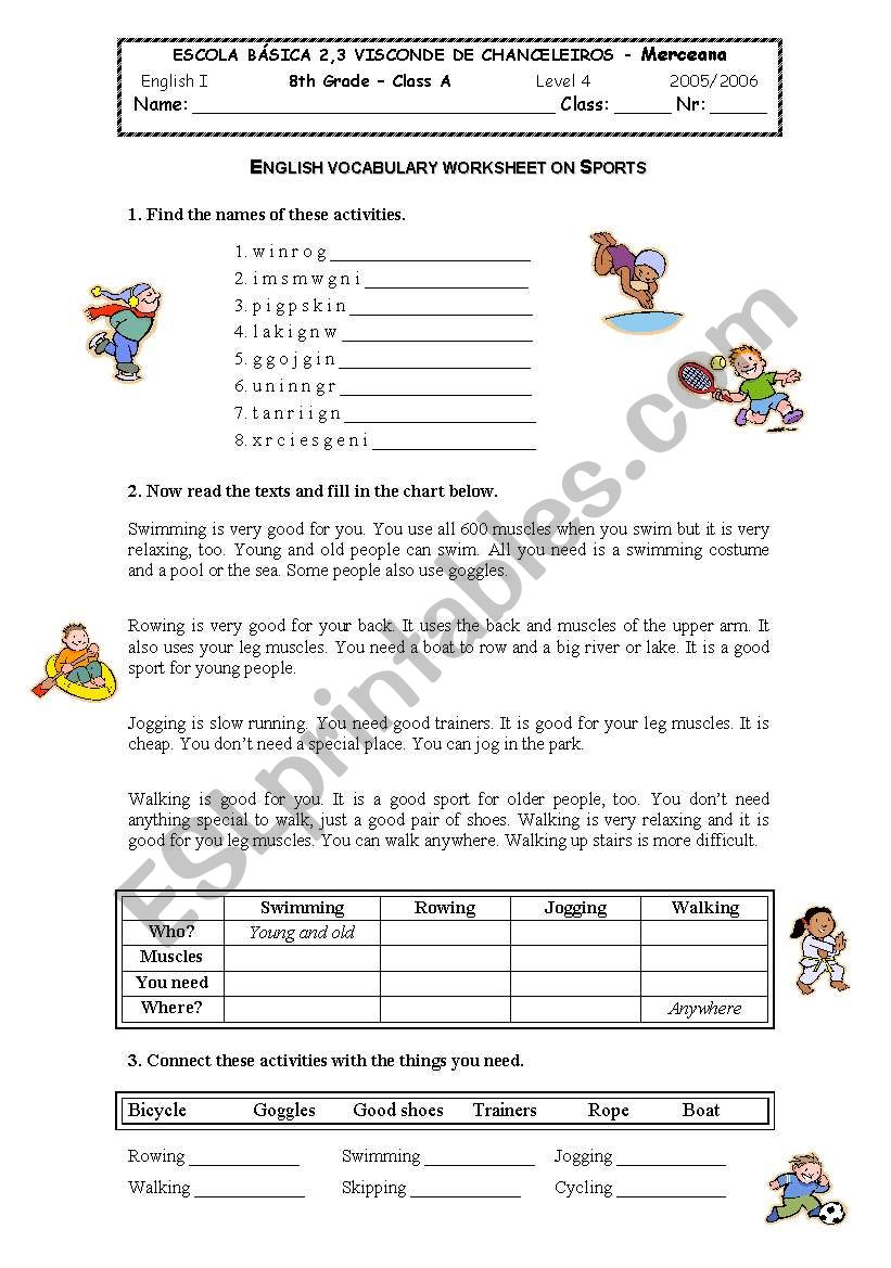 hight resolution of sports - ESL worksheet by sybrgc