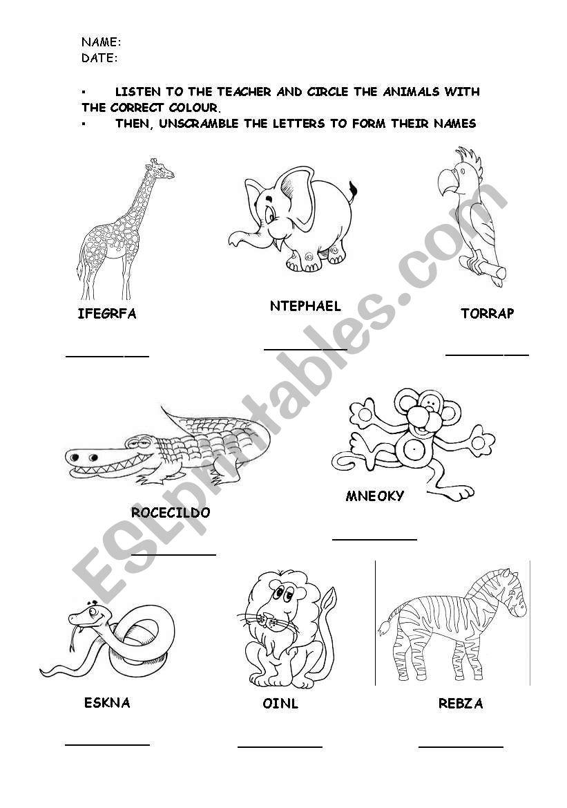 English worksheets WILD ANIMALS LISTENINGREADING WORKSHEET