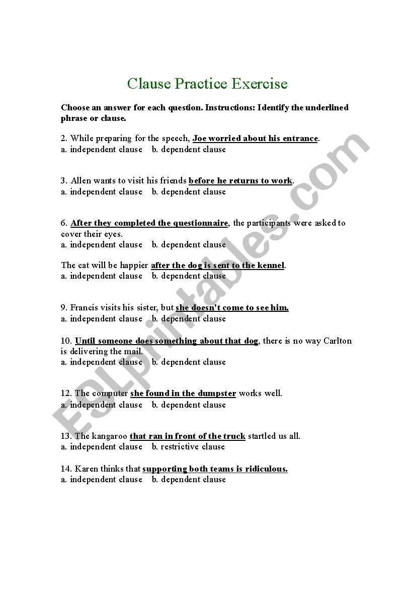hight resolution of Independent Dependent Clause Worksheet - Nidecmege