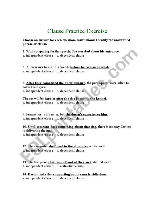 small resolution of Independent Dependent Clause Worksheet - Nidecmege