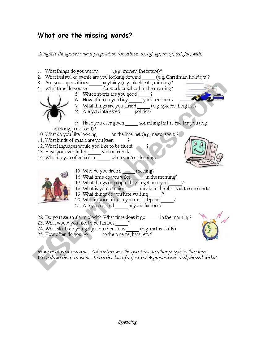 medium resolution of Adjective and prepositions - ESL worksheet by cheeseandegg