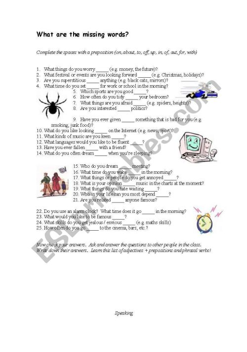 small resolution of Adjective and prepositions - ESL worksheet by cheeseandegg