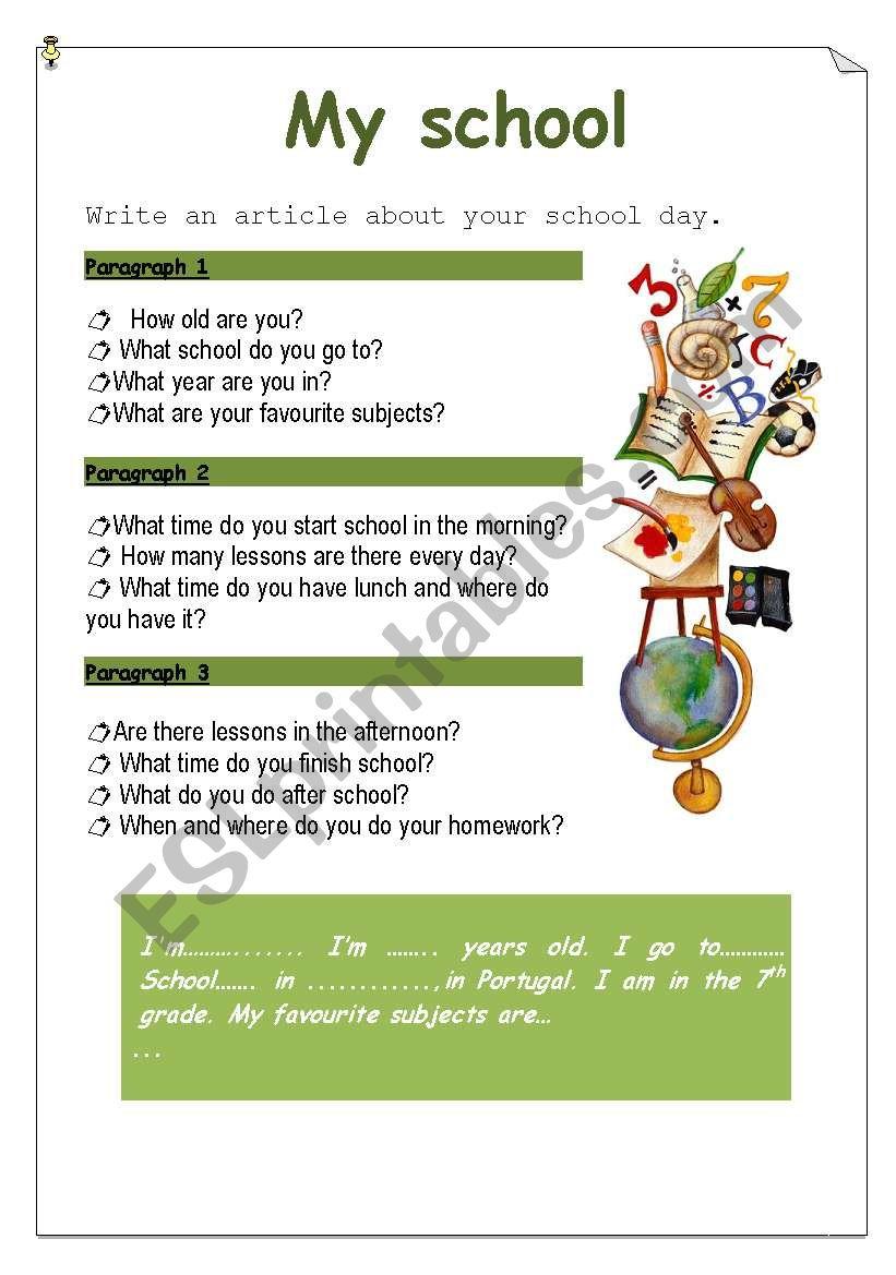 medium resolution of My school - ESL worksheet by Ana B
