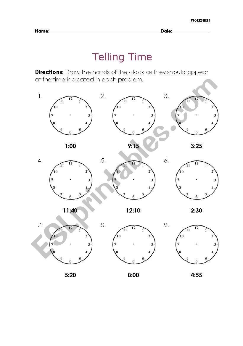 medium resolution of Telling Time - ESL worksheet by Melaniecb
