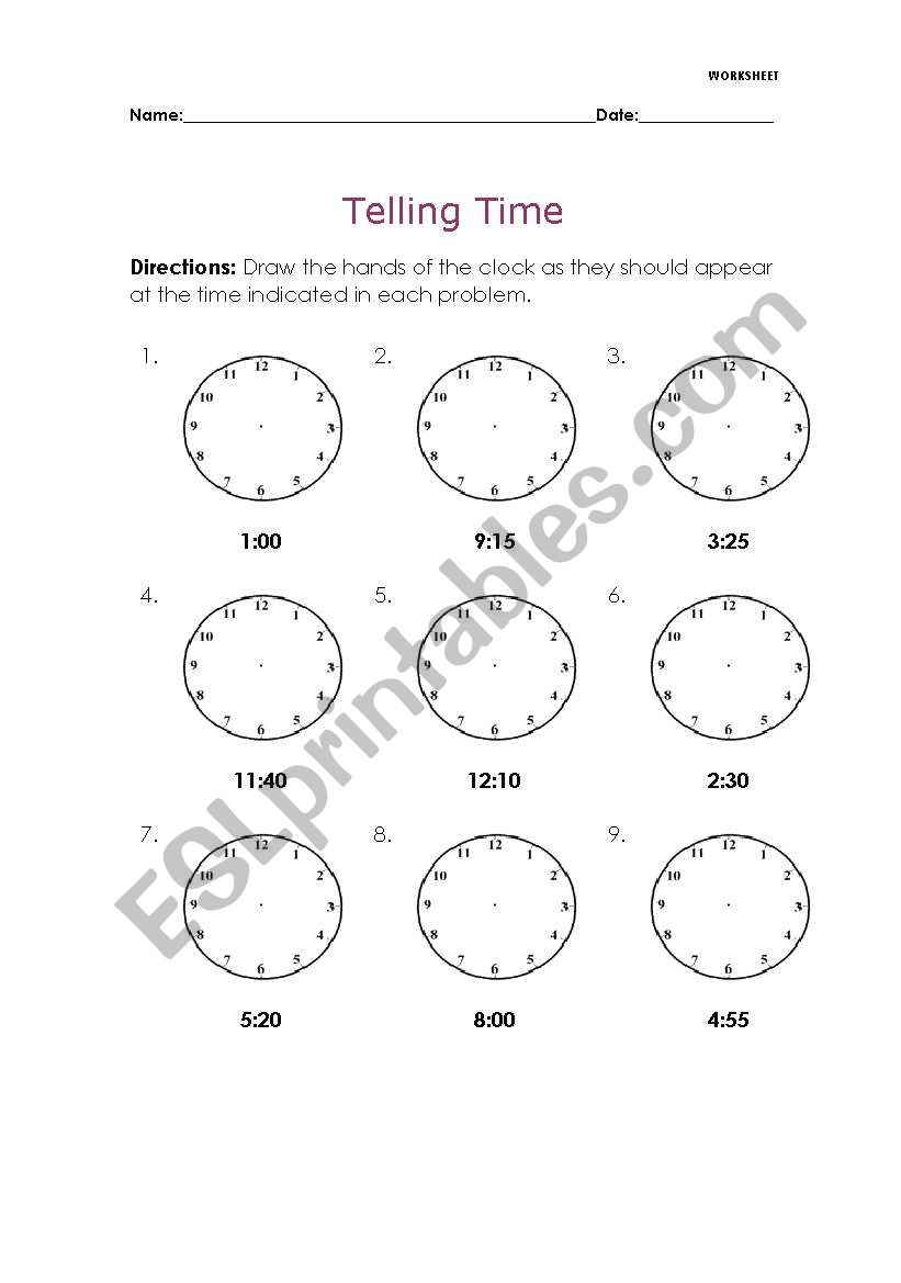 hight resolution of Telling Time - ESL worksheet by Melaniecb