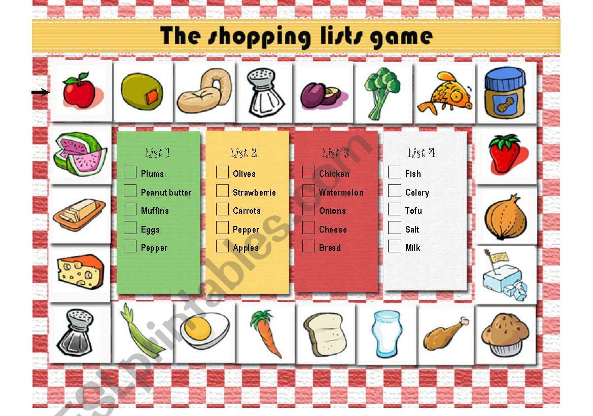The Shopping Lists Game