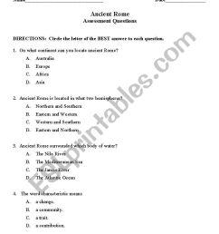 English worksheets: Ancient Rome Quiz [ 1169 x 821 Pixel ]