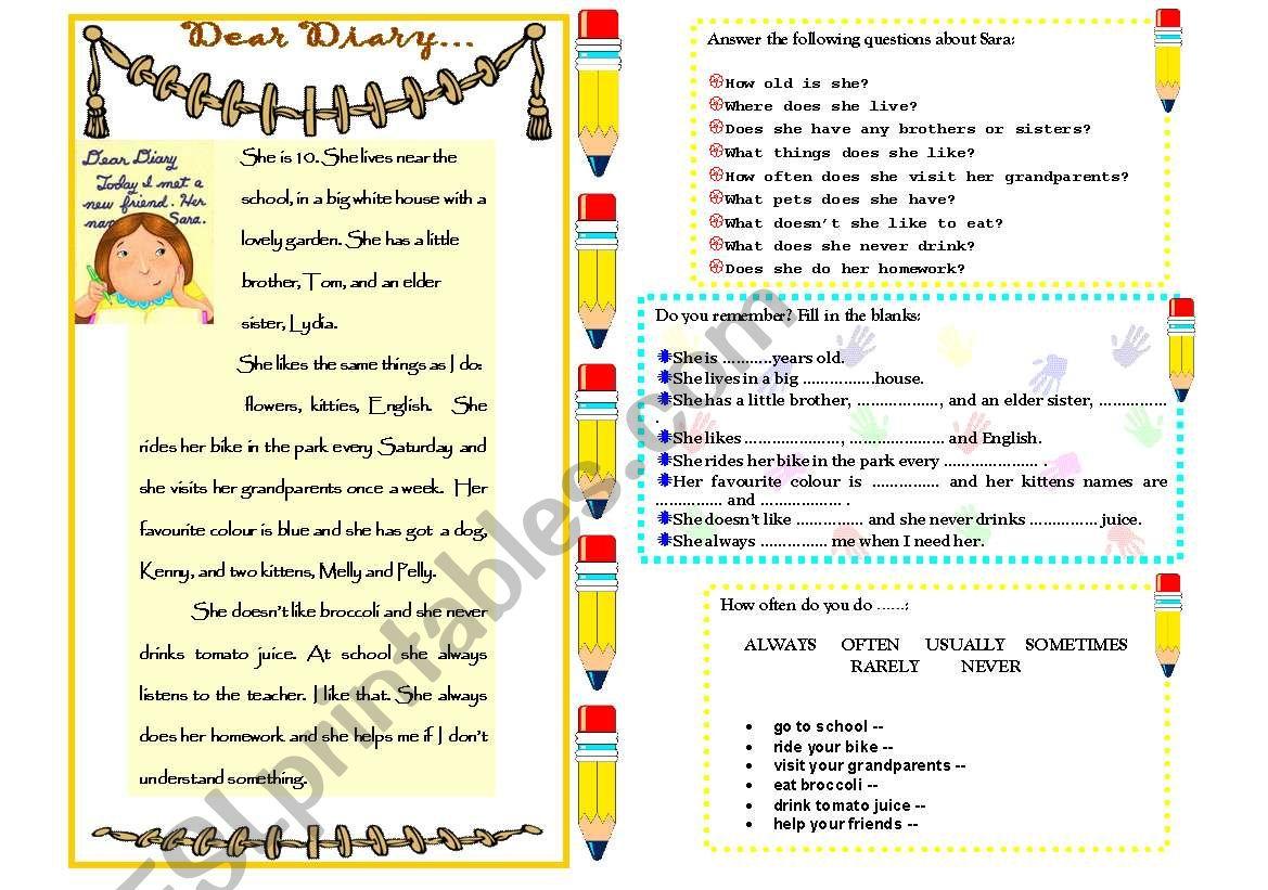 Diary Worksheet