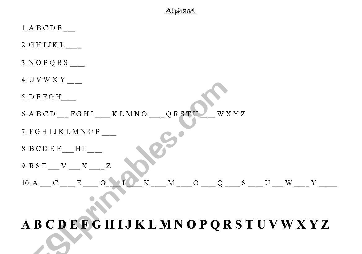 English Worksheets Fill In The Blanks Alphabet