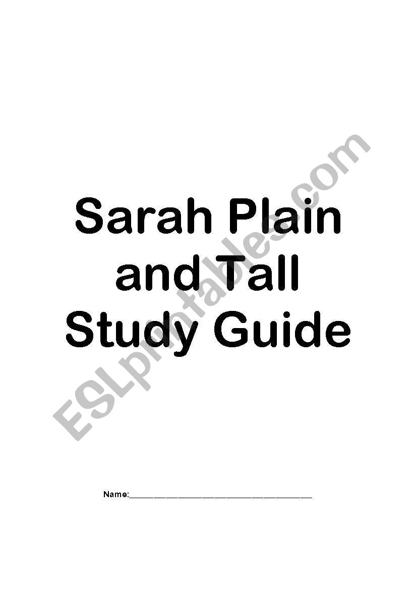 English worksheets: Study Guide for Sarah Plain and Tall