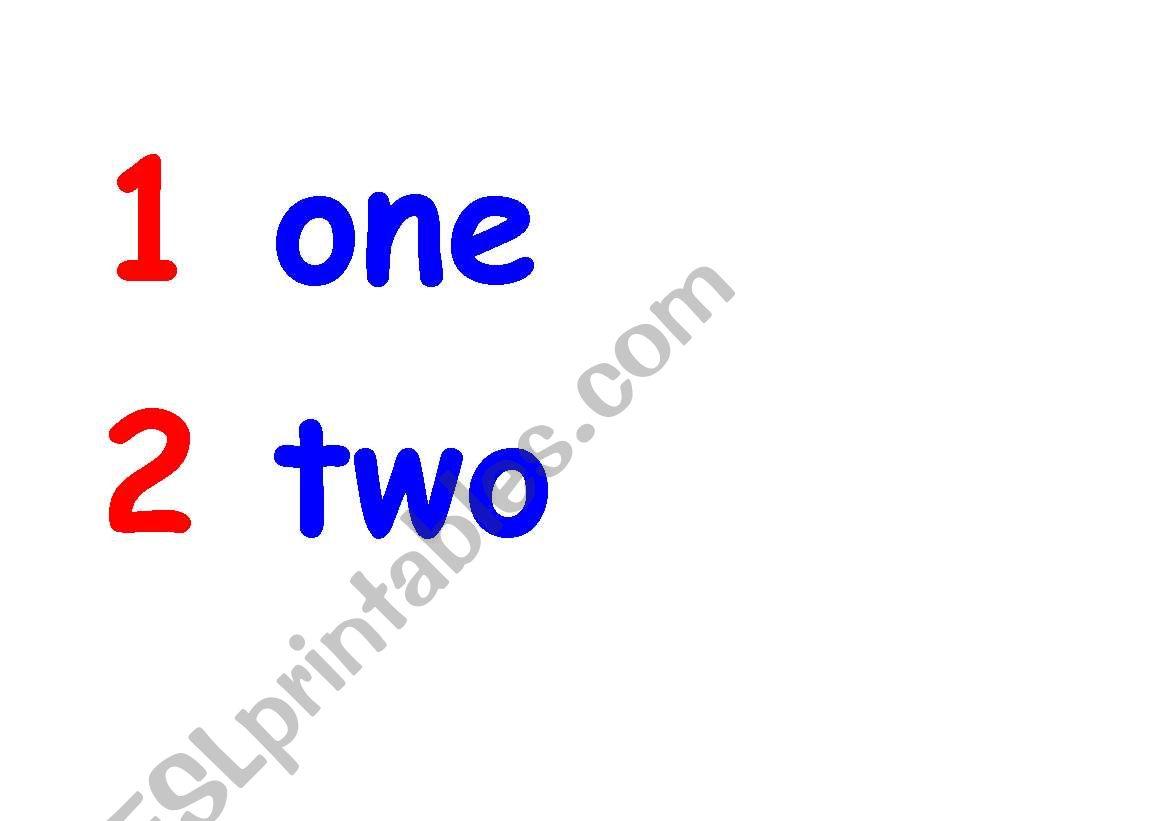 English Worksheets Numbers From 1