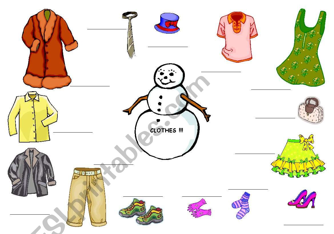 English Worksheets Clothes For Snowman