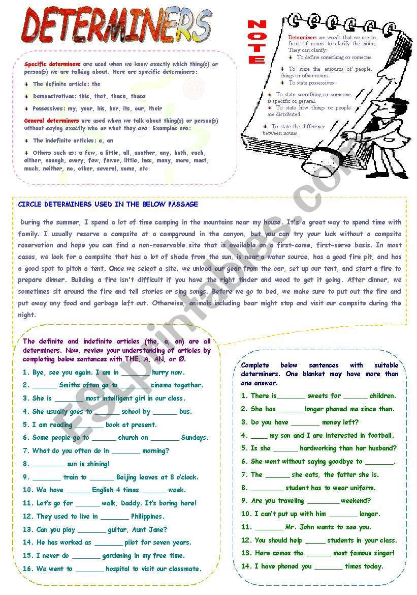hight resolution of Determiners - ESL worksheet by mimika