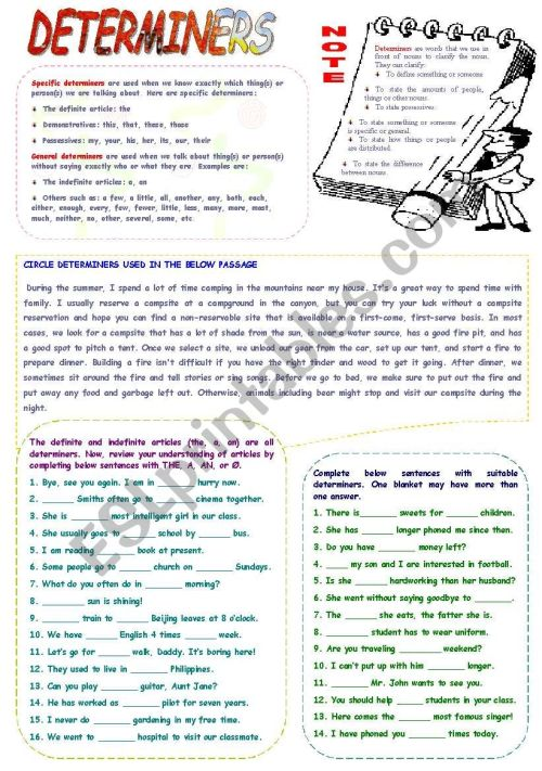 small resolution of Determiners - ESL worksheet by mimika