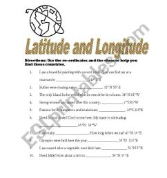 English worksheets: Latitude and Longitude [ 1169 x 821 Pixel ]